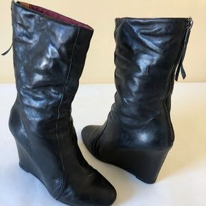 Premiata Womans Black Leather Nupper Wedge Boots